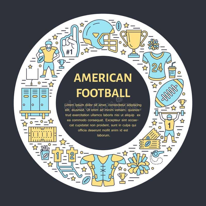 Futbolu amerykańskiego sztandar z kreskową ikoną piłka, pole, gracz, gwizd, hełm i inny sporta wyposażenie, Wektorowy okrąg ilustracja wektor