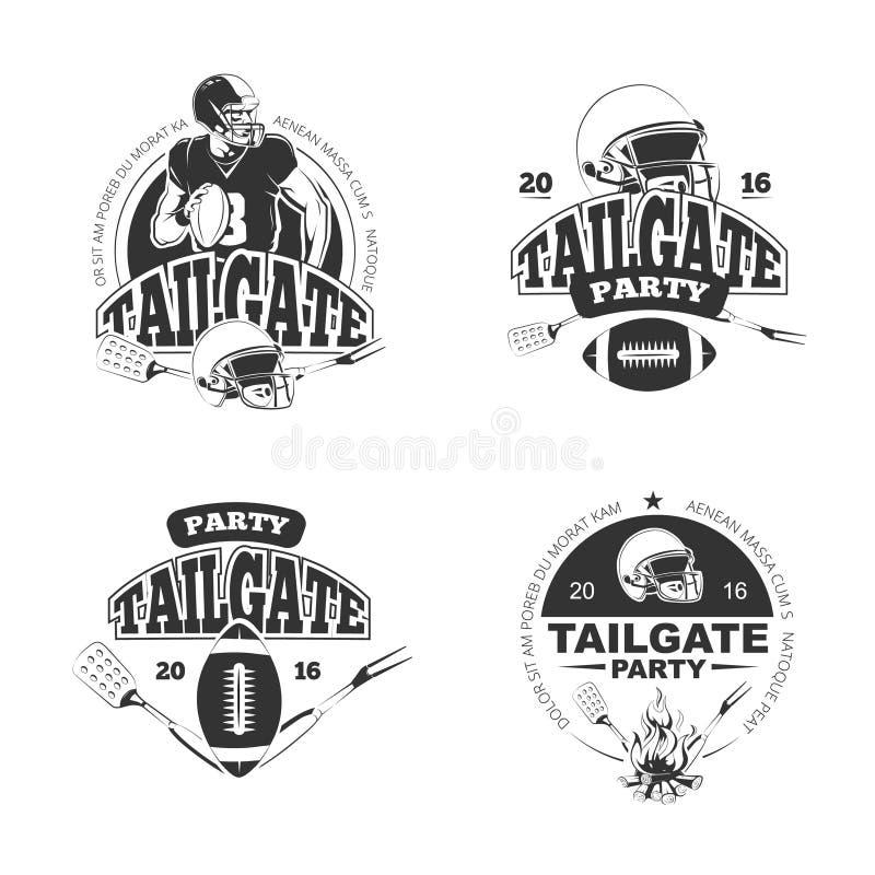 Futbolu amerykańskiego tailgate przyjęcia rocznik przylepia etykietkę wektoru set royalty ilustracja