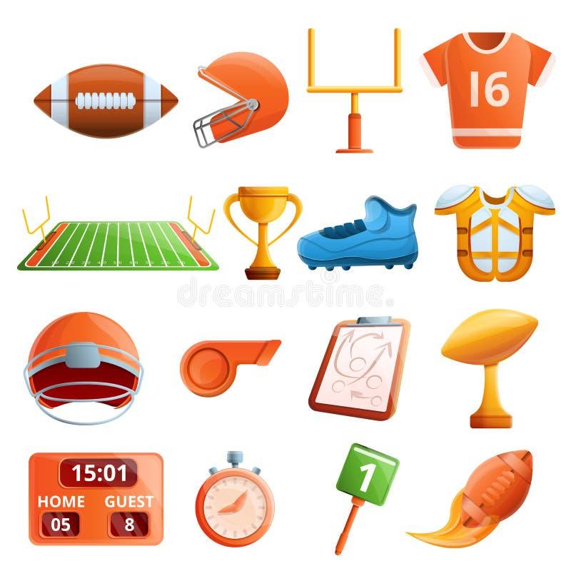 Futbolu amerykańskiego wyposażenia ikony ustawiać, kreskówka styl royalty ilustracja