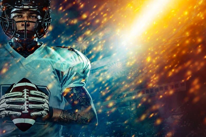 Futbolu ameryka?skiego sportowa gracz na stadium bieg w akci Sport tapeta z copyspace zdjęcia royalty free