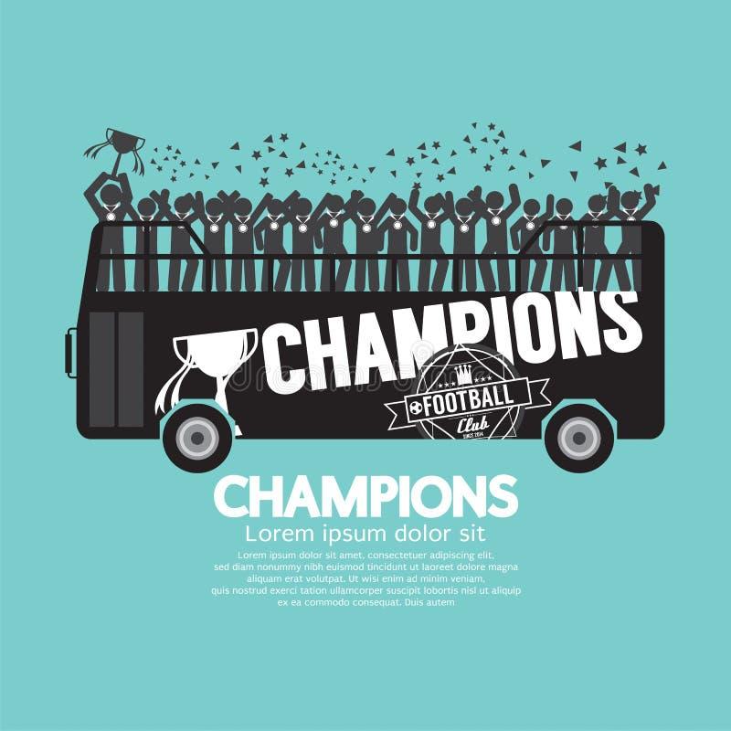 Futbolu Lub piłki nożnej mistrzowie Świętują Na autobusie ilustracja wektor