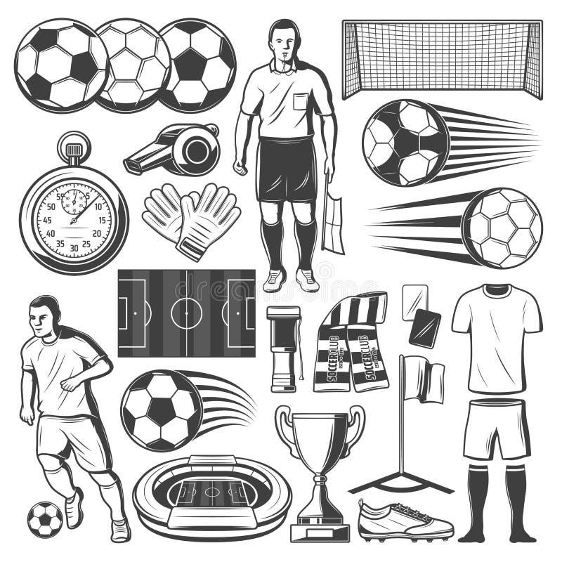 Futbolu lub piłki nożnej sporta wyposażenia wektoru symbole ilustracja wektor