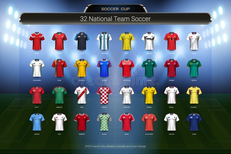 Futbolu 2018 mistrzostwa Światowa filiżanka, drużyna narodowa. piłki nożnej bydła mundurów grupy set ilustracji