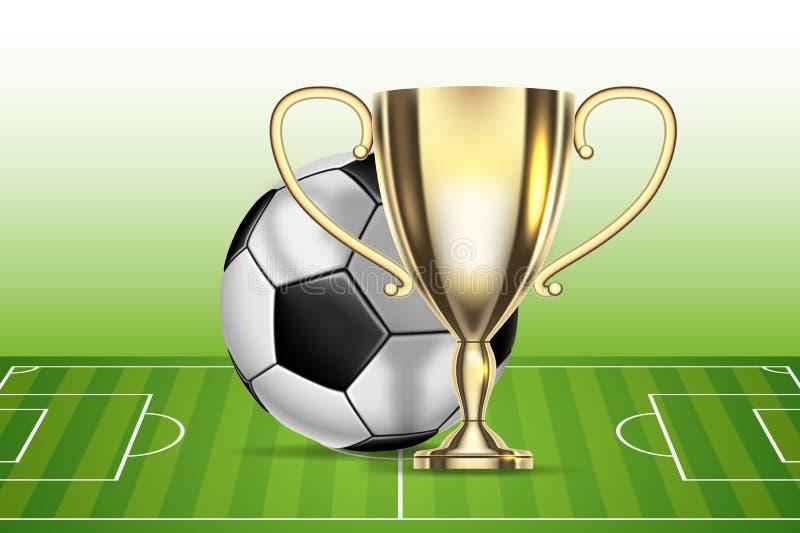 Futbolu 2018 mistrzostwo Piłki nożnej piłka, areny stadium i złota filiżanka, ilustracja wektor