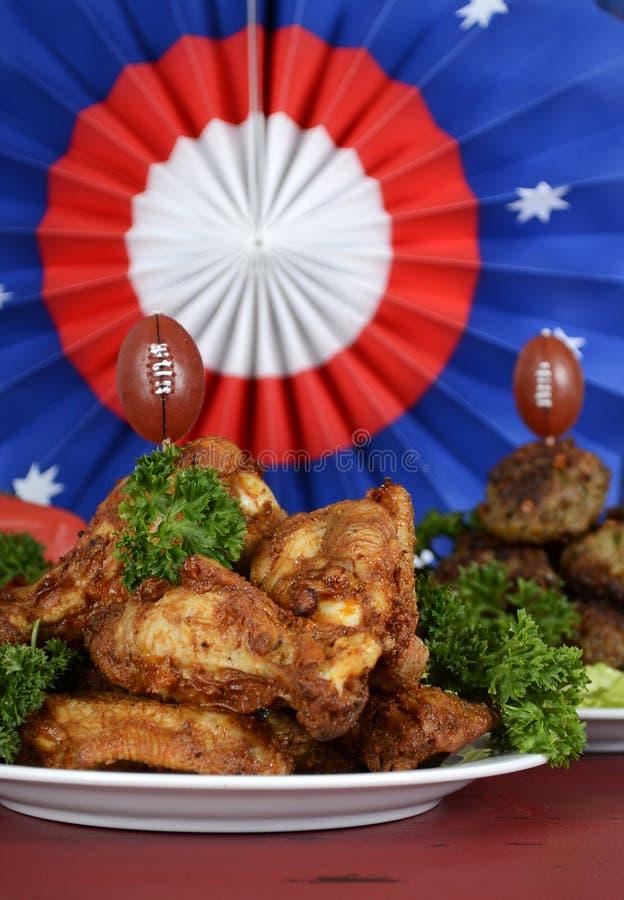 Futbolu partyjny jedzenie obraz stock
