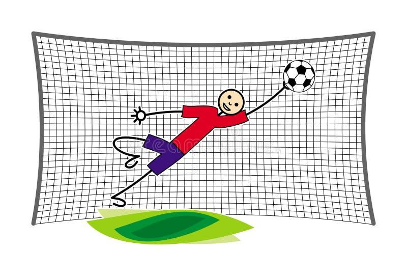 Futbolu, piłki nożnej bramkarz przy bramą/łapie piłkę w skoku target1888_0_ polowania labiryntu obrazka węża wektor ilustracji