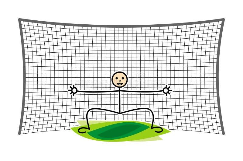 Futbolu, piłki nożnej bramkarz w celu/ Śmieszna kreskówki postać wektor ilustracja wektor