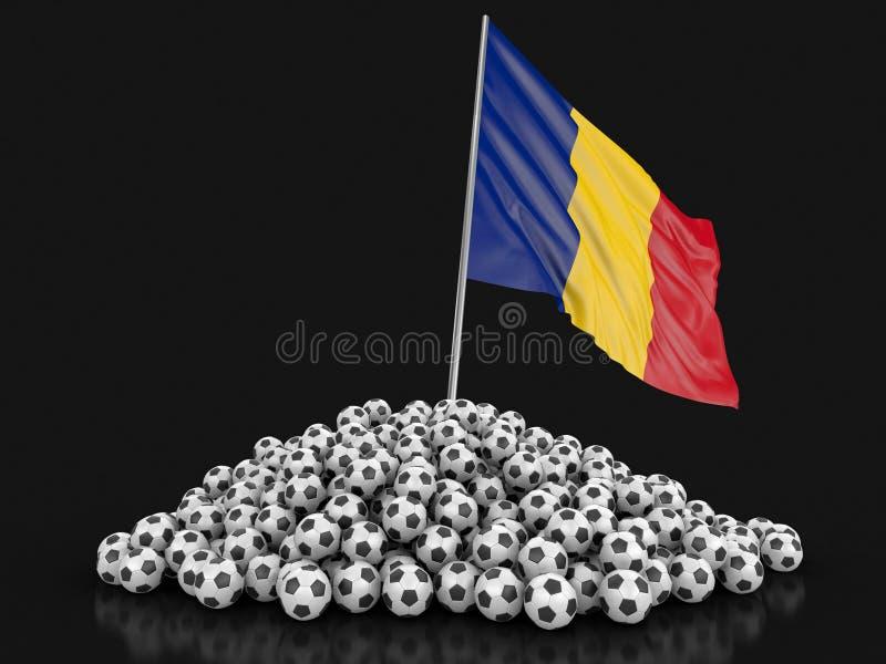 Futebóis do futebol com bandeira romena ilustração do vetor