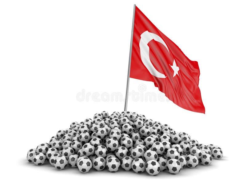 Futebóis do futebol com bandeira turca ilustração do vetor