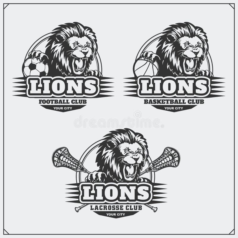 Futebol, basebol e logotipos e etiquetas do hóquei Emblemas do clube de esporte com cabeça do leão ilustração royalty free