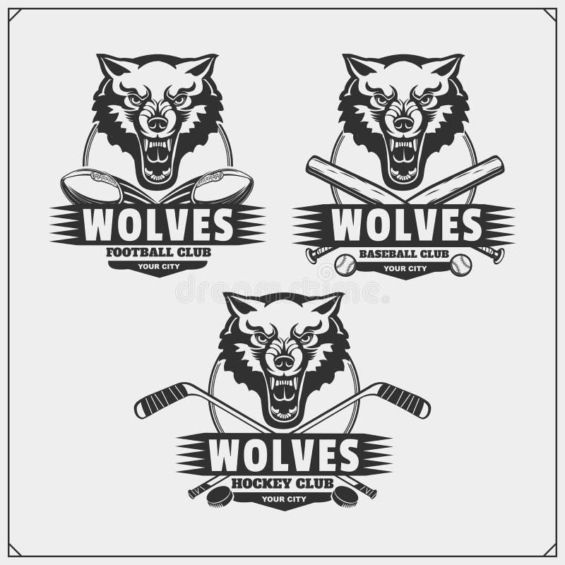 Futebol, basebol e logotipos e etiquetas do hóquei Emblemas do clube de esporte com lobo ilustração do vetor