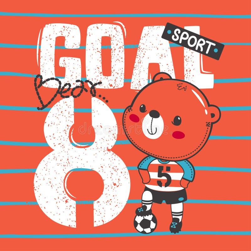 Futebol bonito do urso de peluche que pisa a bola com projeto gráfico do esporte imagens de stock