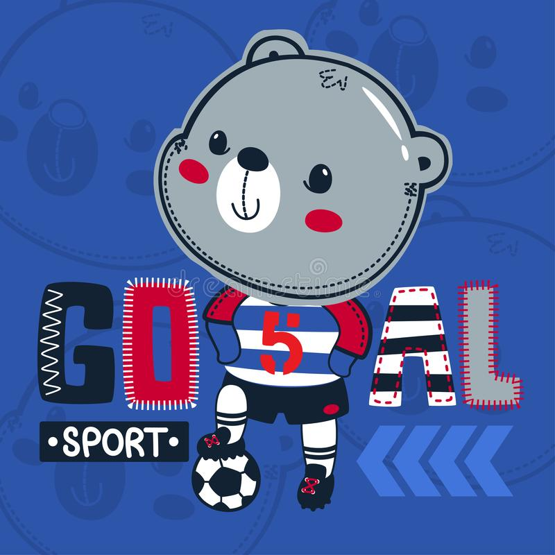 Futebol bonito do urso de peluche que pisa a bola no vetor azul da ilustração do fundo fotografia de stock royalty free