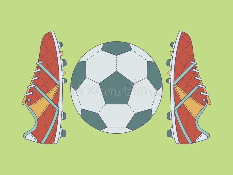 Futebol/botas e bola do futebol com contorno no fundo verde ilustração do vetor