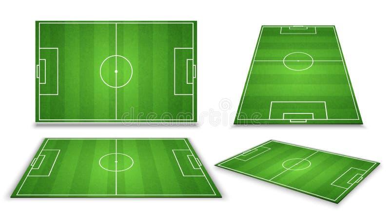 Futebol, campo de futebol europeu no ponto diferente da opinião de perspectiva Ilustração isolada do vetor ilustração stock
