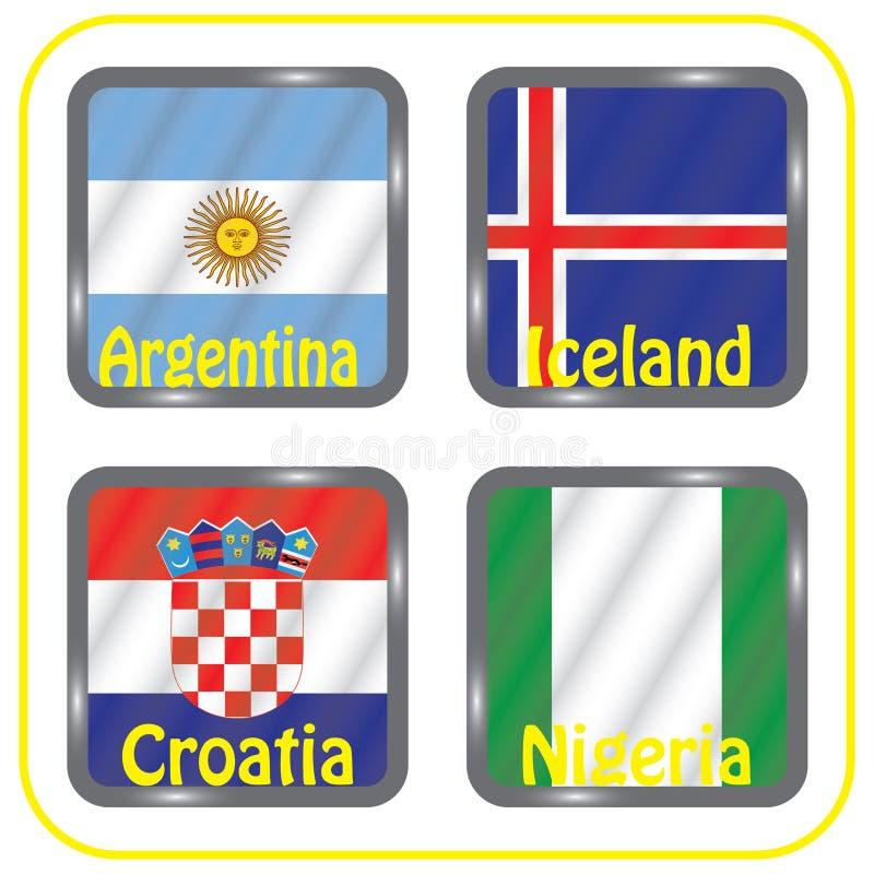 Futebol championship Bandeiras do vetor Rússia grupo D ilustração stock