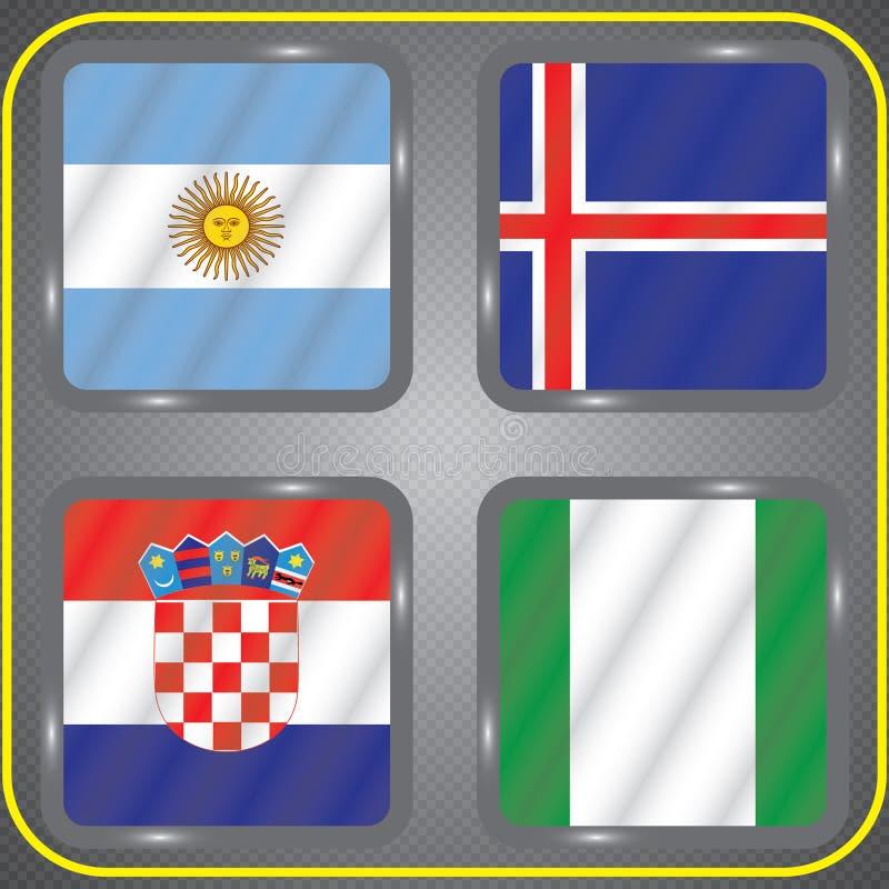 Futebol championship Bandeiras do vetor Rússia grupo D ilustração royalty free