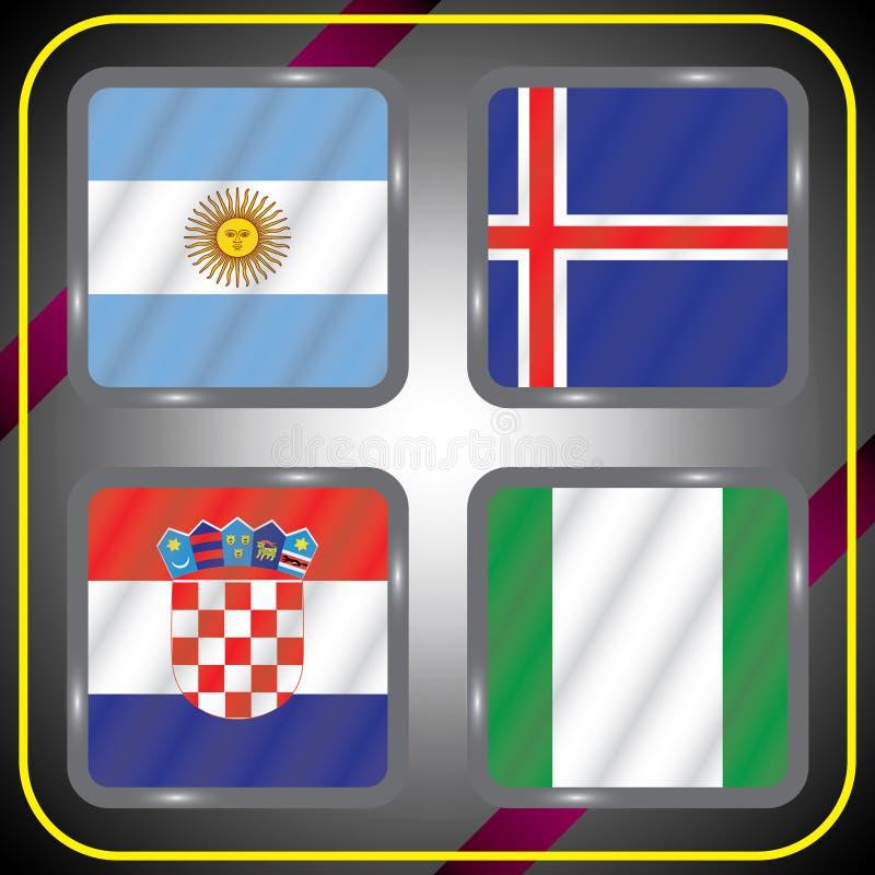 Futebol championship Bandeiras do vetor Rússia grupo D ilustração do vetor