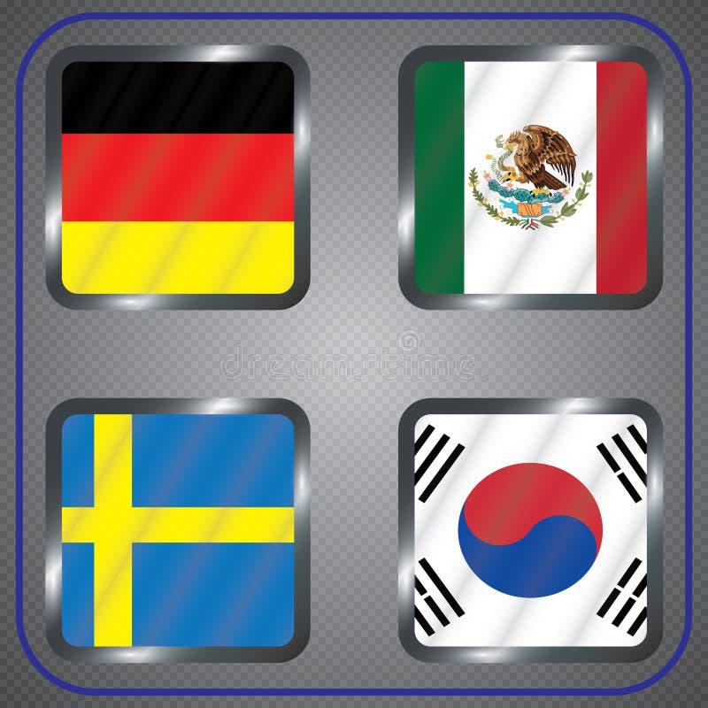 Futebol championship Bandeiras do vetor Rússia grupo F ilustração stock