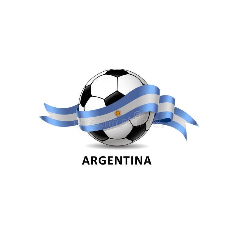 Futebol com a fuga colorida da bandeira nacional de Argentina ilustração stock