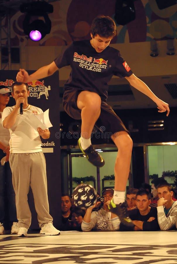 Futebol Contest-4 do estilo da rua de Red Bull imagem de stock