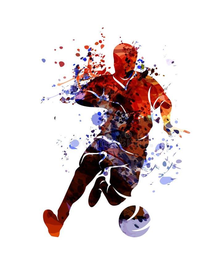 Futebol da silhueta da aquarela ilustração royalty free