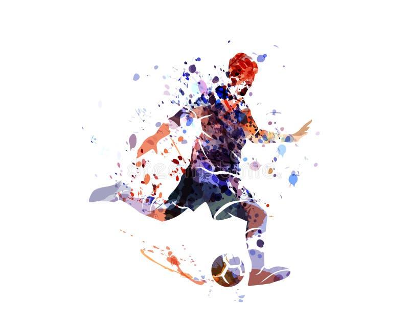 Futebol da silhueta da aquarela ilustração stock