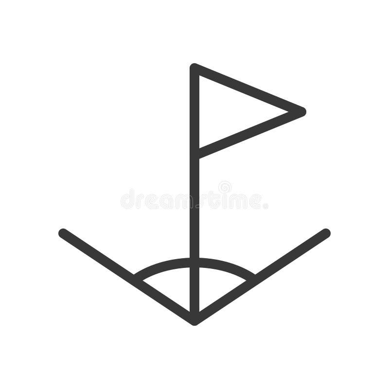 Futebol do ícone do esboço do canto e da bandeira relativo ilustração do vetor