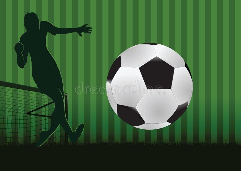 Futebol do clique do goleiros no projeto da silhueta fotografia de stock