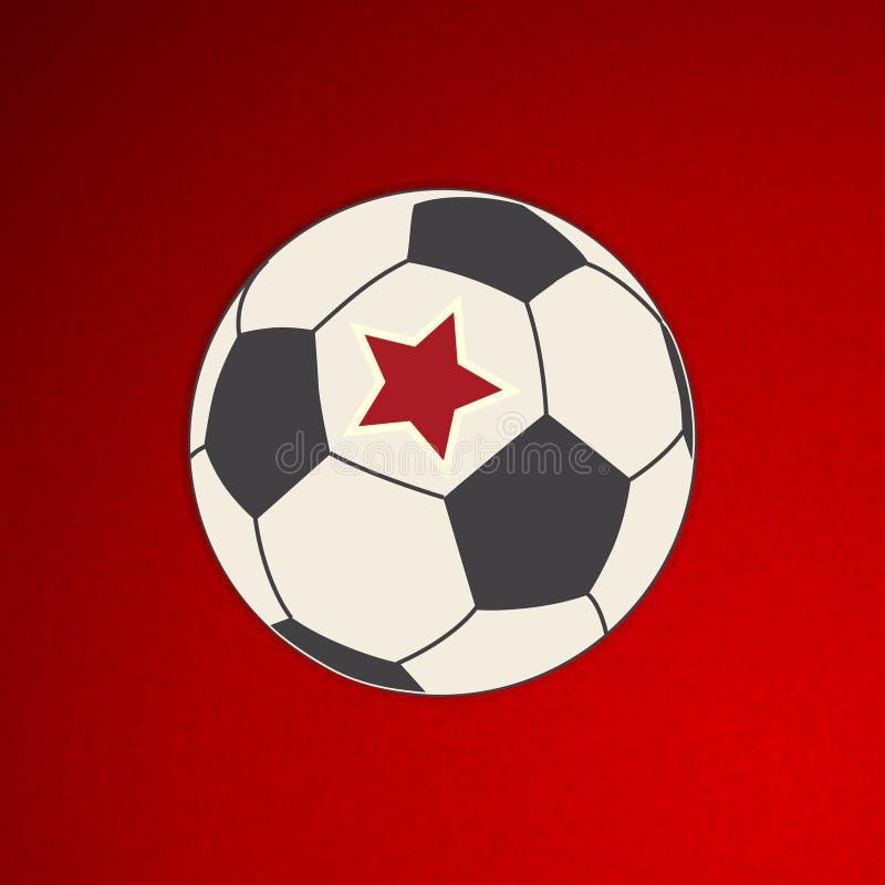 Futebol do futebol com a estrela vermelha no vermelho fotos de stock