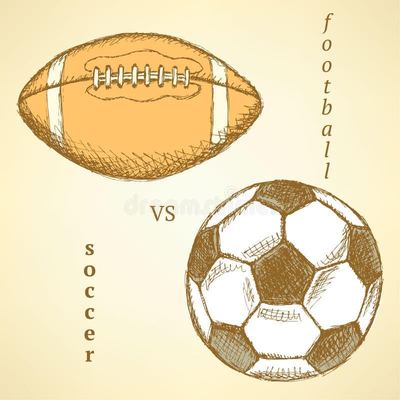 Futebol do esboço contra a bola do futebol americano ilustração stock