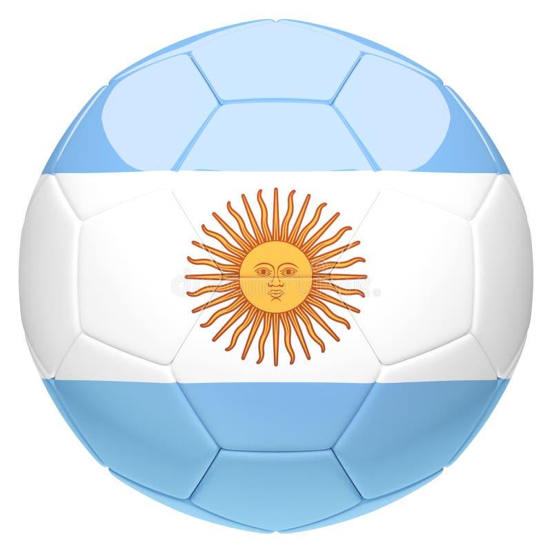 Futebol do futebol com rendição da bandeira 3d de Argentina ilustração do vetor