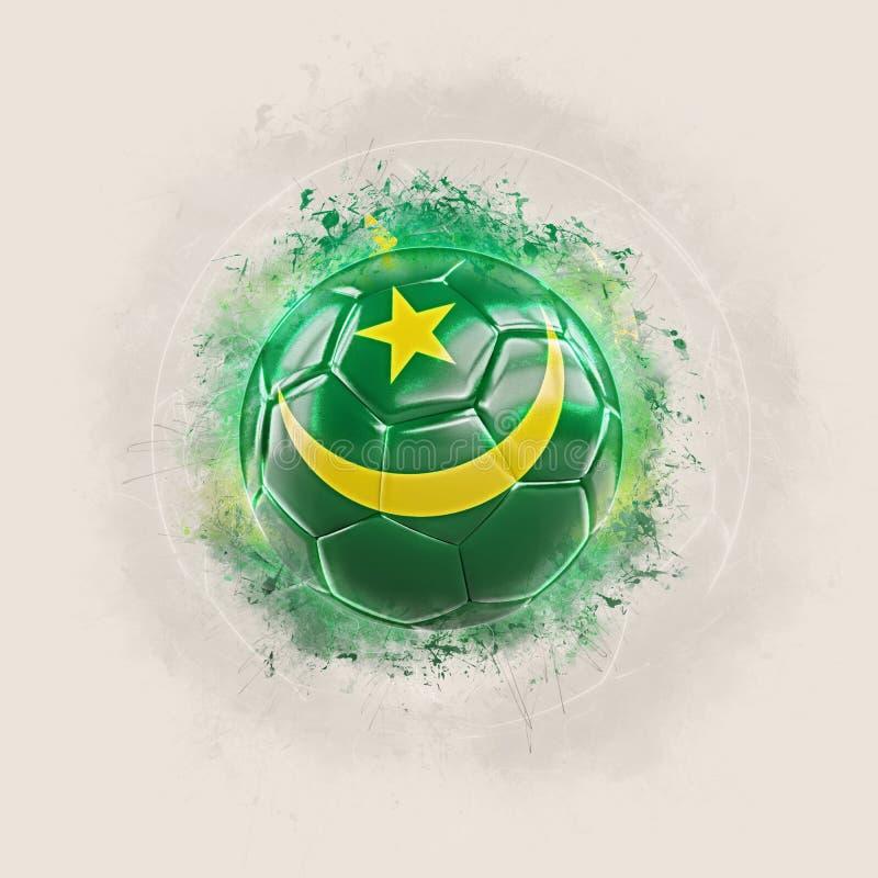 Futebol do Grunge com a bandeira de Mauritânia ilustração stock