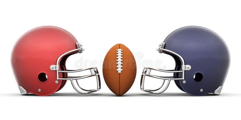 Futebol e capacetes ilustração do vetor