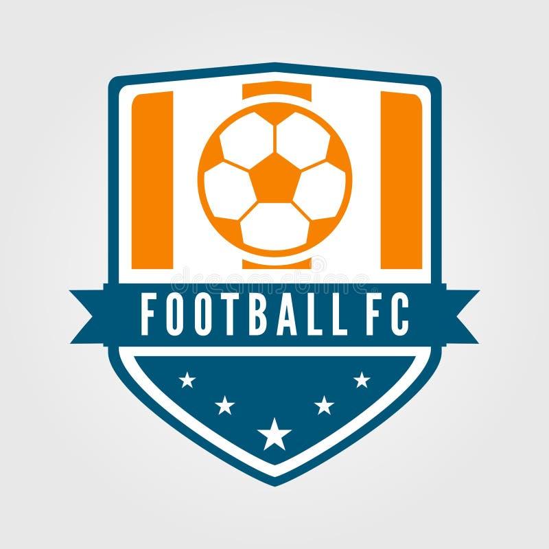 Futebol e crachá da equipe de futebol com estilo moderno e liso ilustração do vetor