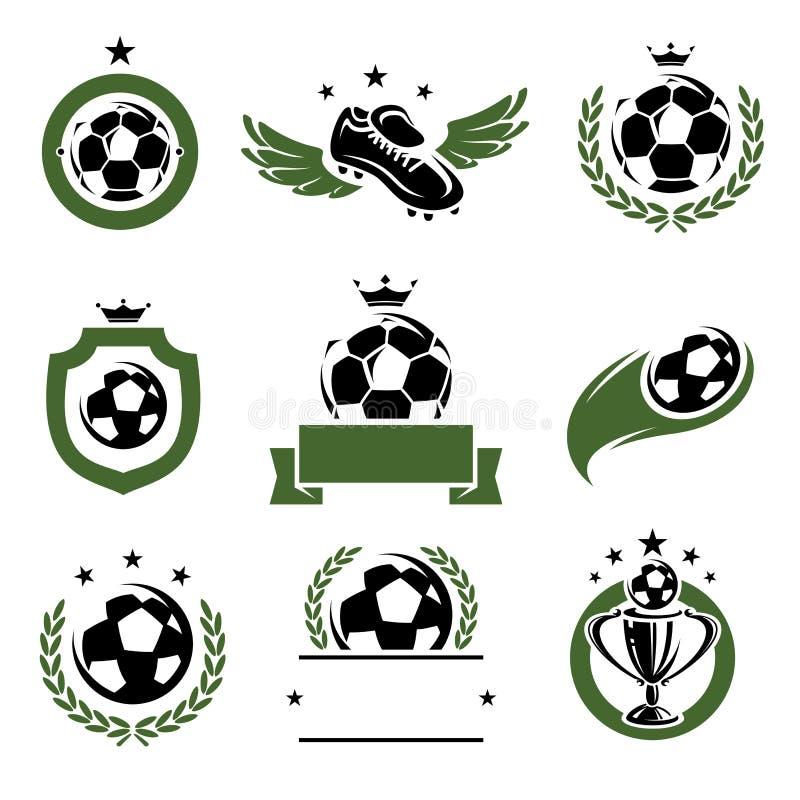 Futebol e etiquetas e ícones do futebol ajustados Vetor ilustração do vetor
