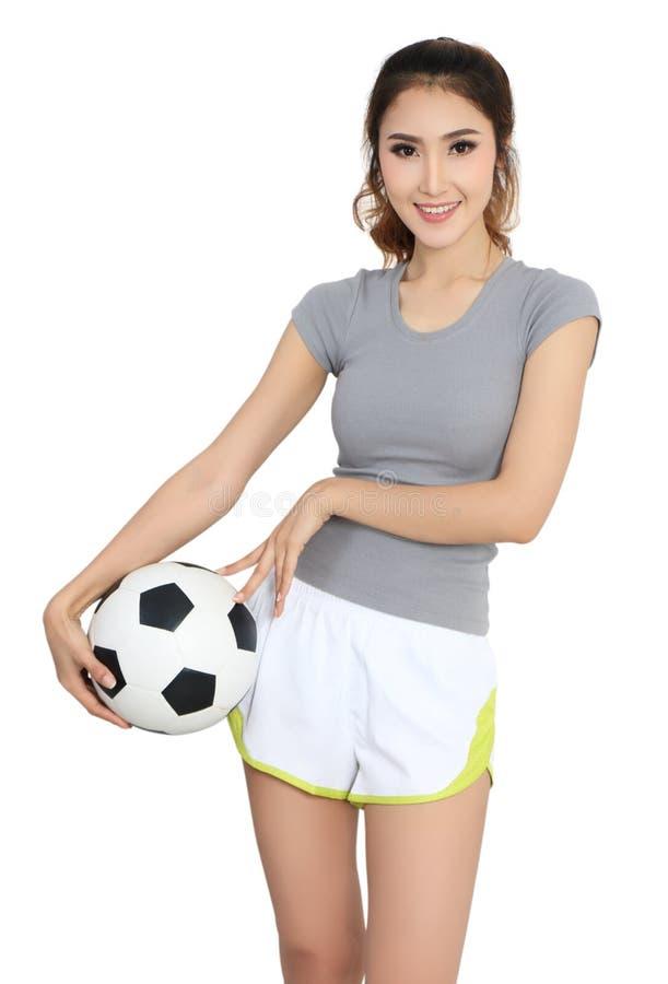 Futebol e mulher foto de stock royalty free