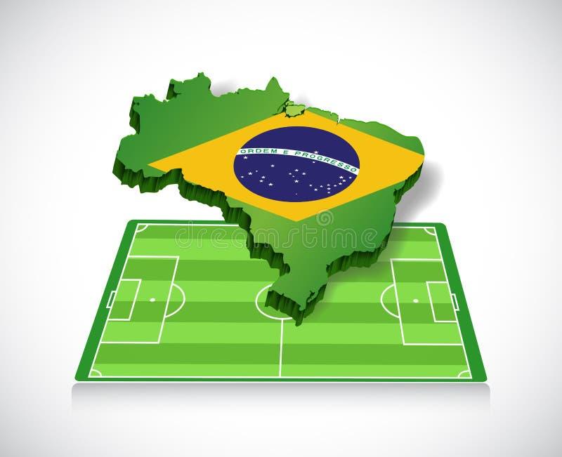 Futebol em Brasil ilustração do mapa e do campo ilustração royalty free