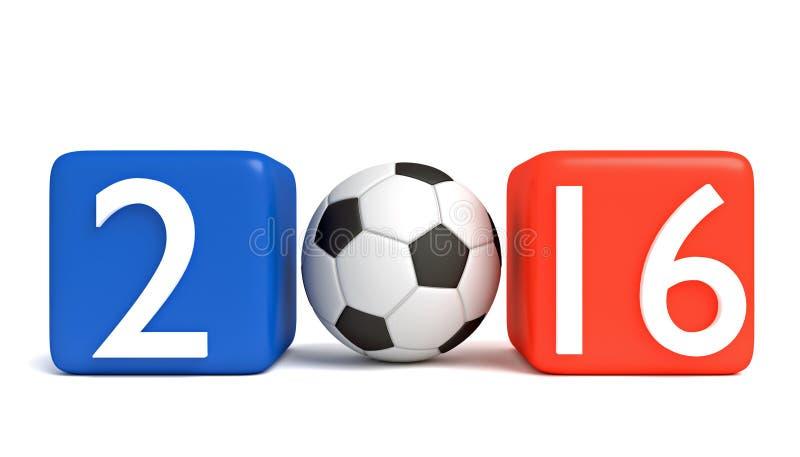 Futebol em França 2016, cubos com futebol ilustração stock