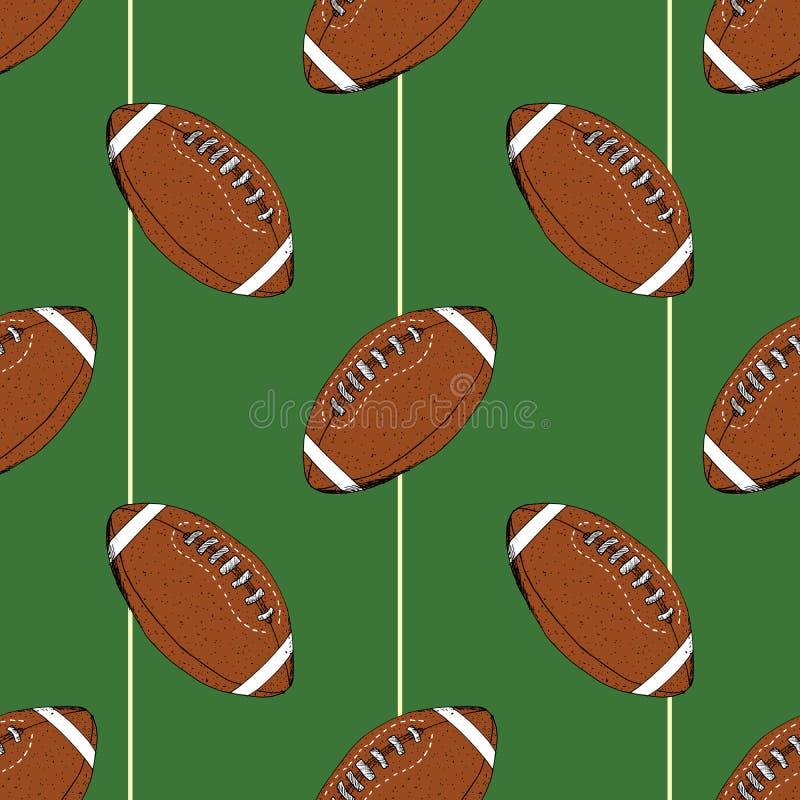 Futebol, esboço tirado do teste padrão da bola de rugby mão sem emenda, ilustração do vetor ilustração stock