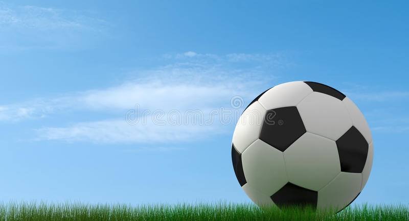 Futebol-esfera clássica na grama ilustração do vetor