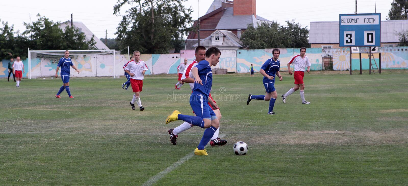 Futebol. Esforço violento fotografia de stock