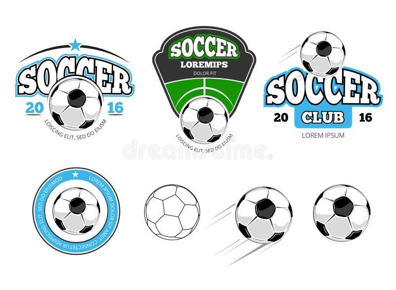 Futebol, etiquetas do vetor do futebol, emblemas, logotipos e crachás europeus ilustração do vetor