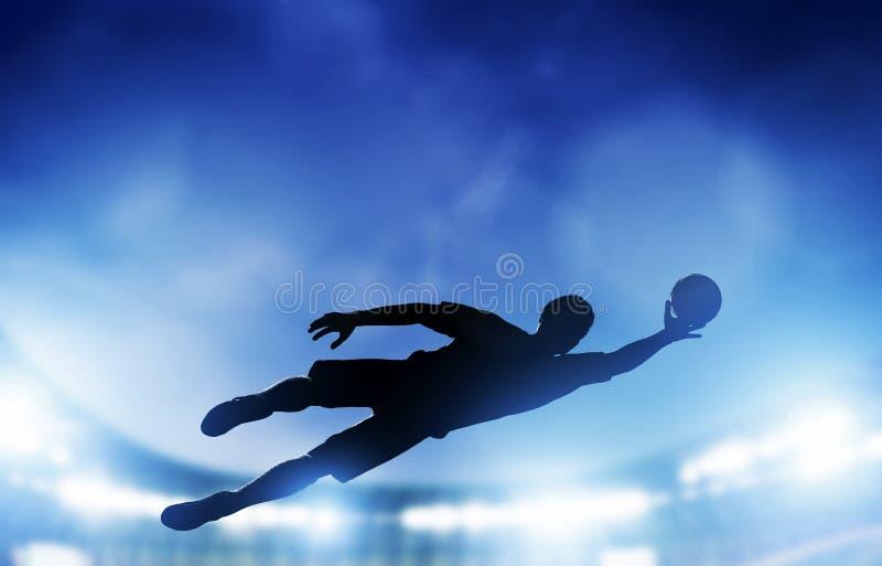 Futebol, fósforo de futebol. Um goleiros que salta salvar a bola do objetivo ilustração stock