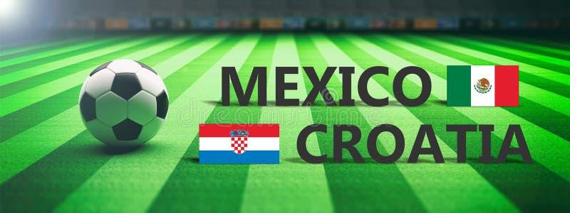 Futebol, fósforo de futebol, México contra a Croácia, ilustração 3d ilustração stock