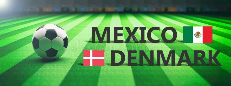 Futebol, fósforo de futebol, México contra Dinamarca, ilustração 3d ilustração do vetor