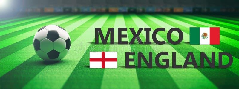 Futebol, fósforo de futebol, México contra Inglaterra, ilustração 3d ilustração stock