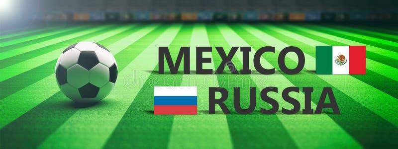 Futebol, fósforo de futebol, México contra Rússia, ilustração 3d ilustração royalty free