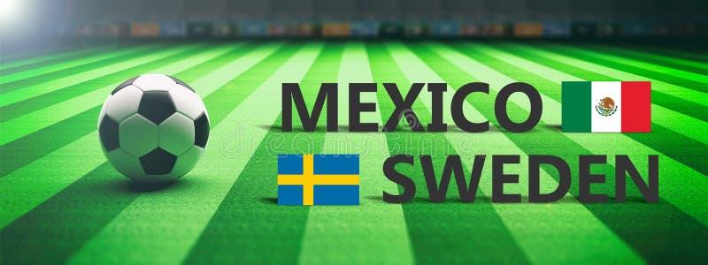 Futebol, fósforo de futebol, México contra a Suécia, ilustração 3d ilustração royalty free