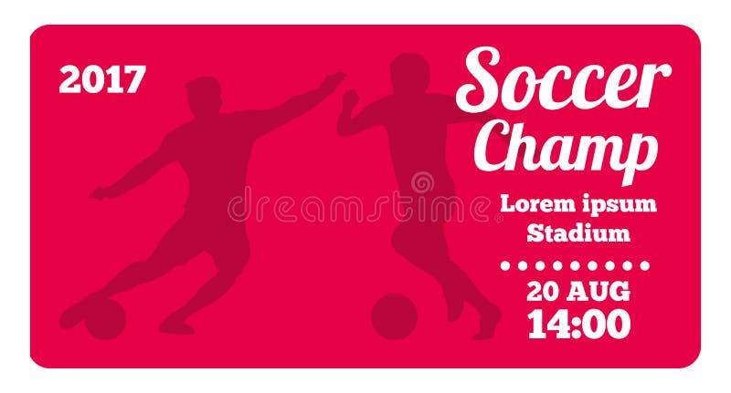 Futebol horizontal vermelho, molde do cartaz do vetor do futebol ilustração do vetor
